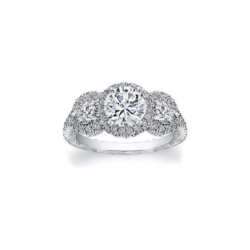 MAZZARESE Bridal 3-STONE DIAMOND HALO ENGAGEMENT RING