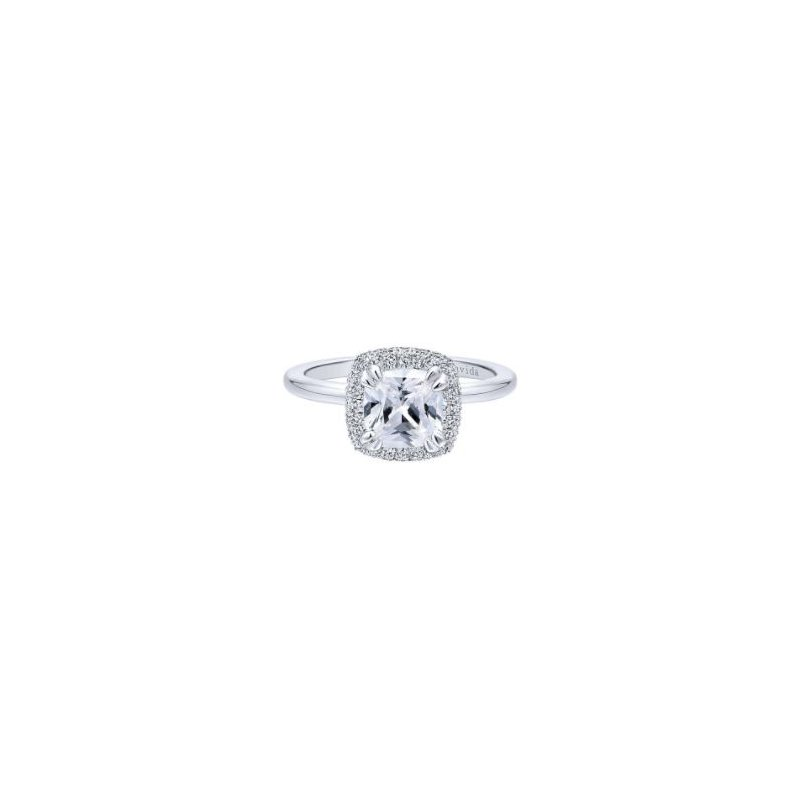 Amavida 18K White Gold Cushion Halo Diamond Engagement Ring