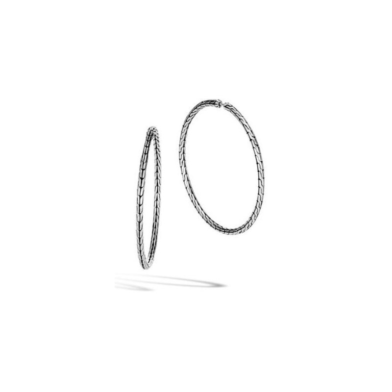 JOHN HARDY Classic Chain Silver Large Hoop Earrings