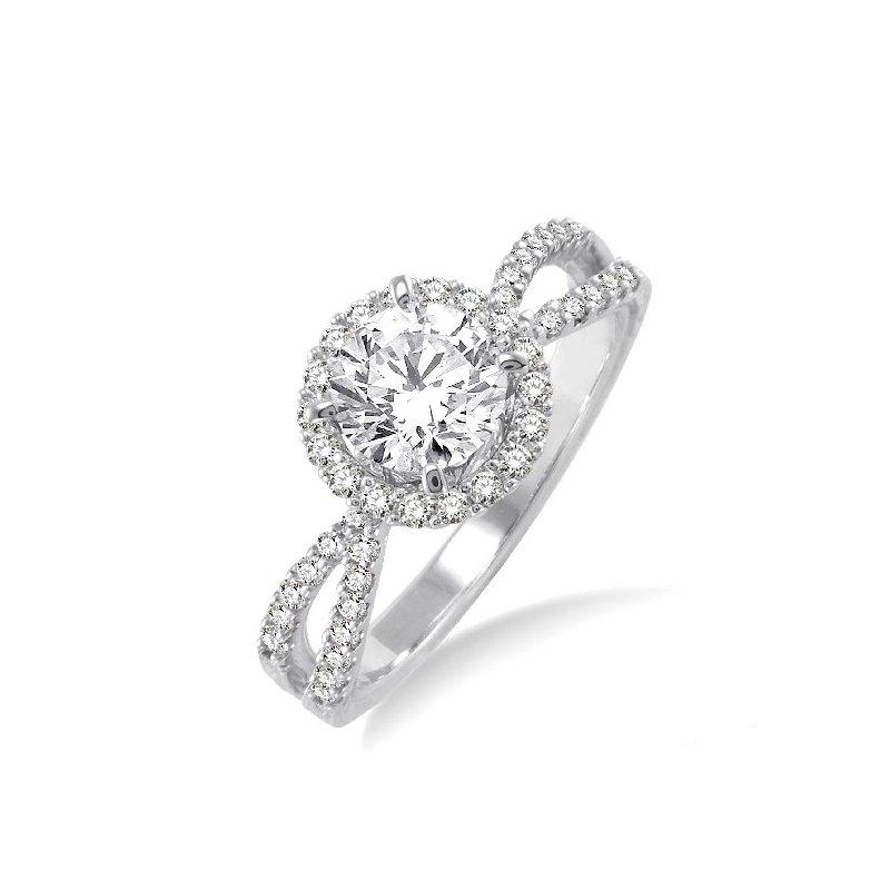 MAZZARESE Bridal WHITE GOLD DIAMOND HALO ENGAGEMENT RING