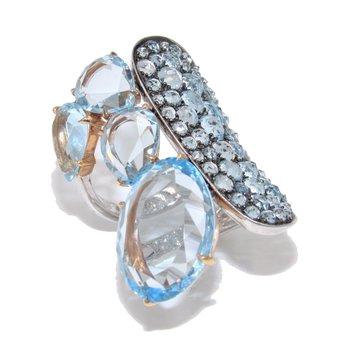 ETHO MARIA Rose Gold Blue Topaz Ring