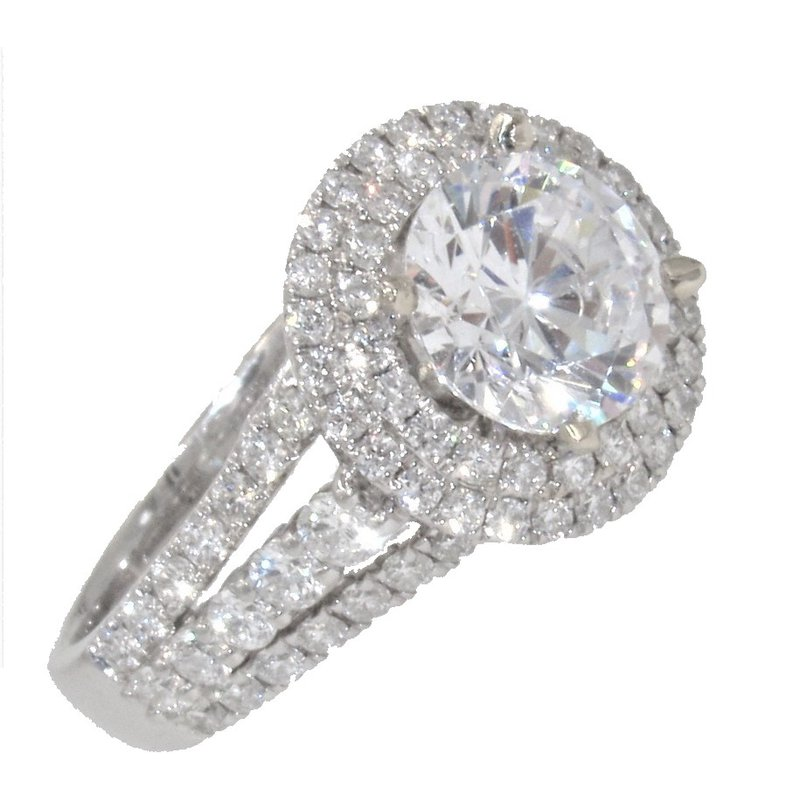 MAZZARESE Couture WHITE GOLD DOUBLE HALO ENGAGEMENT RING