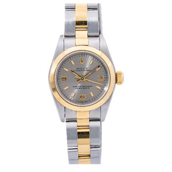 PRE-OWNED ROLEX LADIES OYSTER PERPETUAL TWO-TONE WATCH