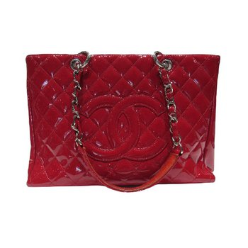 CHANEL Patent Quilted Grand Shopping Tote GST