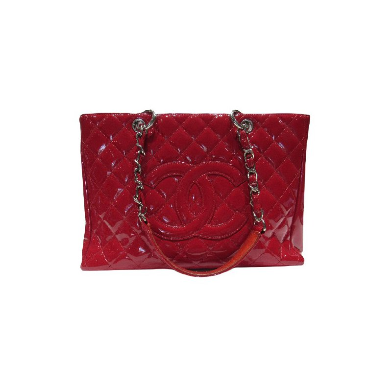 Pre-Owned Luxury Handbags CHANEL Patent Quilted Grand Shopping Tote GST