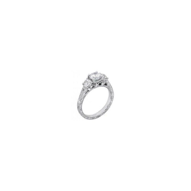 MAZZARESE Bridal PLATINUM 3-STONE ENGAGEMENT RING