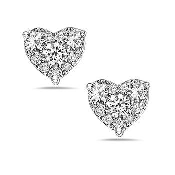 White Gold Diamond Heart Studs