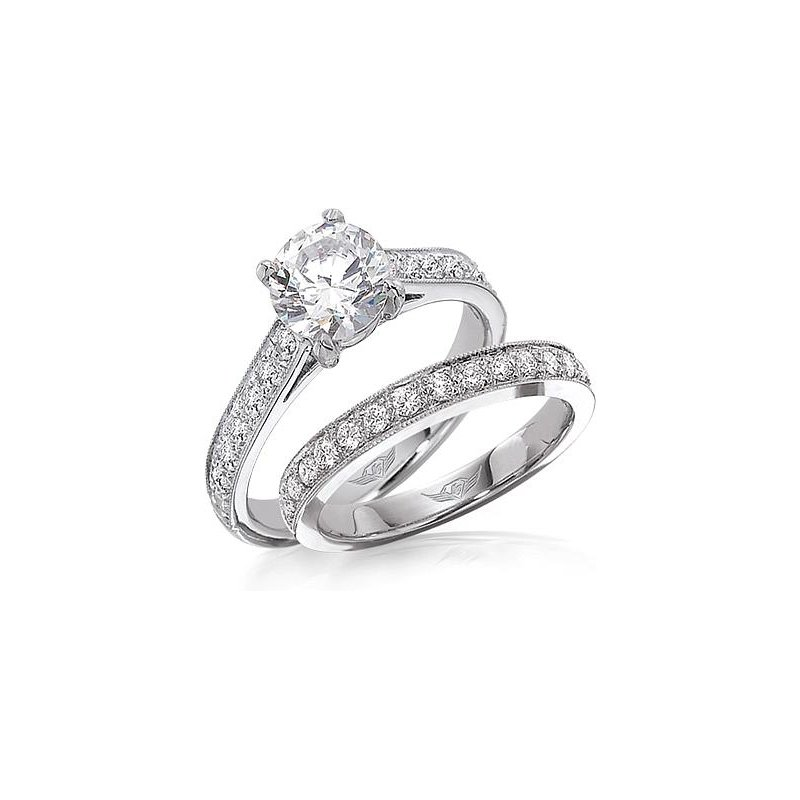 MAZZARESE Bridal WHITE GOLD DIAMOND SOLITAIRE ENGAGEMENT RING