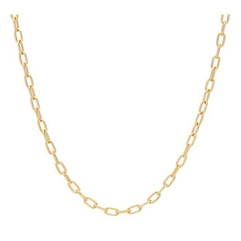 Elongated Oval Chain Collar Necklace - Gold