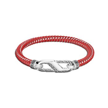 Classic Chain Men's Silver Bracelet on Red Rubber Steel Cord