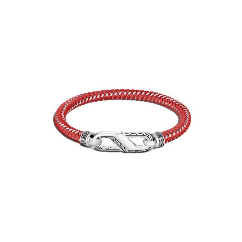 JOHN HARDY Classic Chain Men's Silver Bracelet on Red Rubber Steel Cord