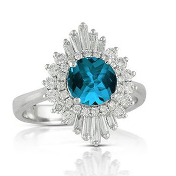 BLUE TOPAZ AND DIAMOND HALO RING