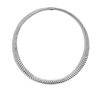 Classic Chain Graduated Silver Necklace