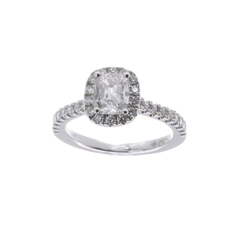 MAZZARESE Bridal WHITE GOLD CUSHION HALO ENGAGEMENT RING