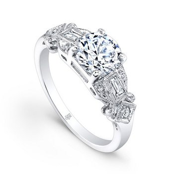 WHITE GOLD VINTAGE STYLE ENGAGEMENT RING