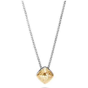 Classic Chain Hammered Sugarloaf Pendant Necklace
