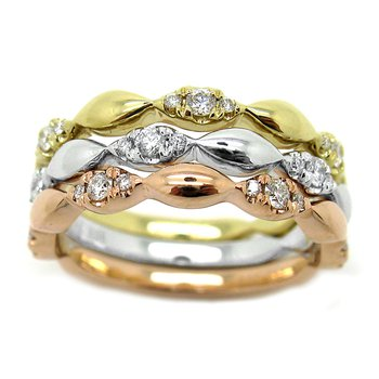 ROSE GOLD STACK RING WITH DAIMONDS