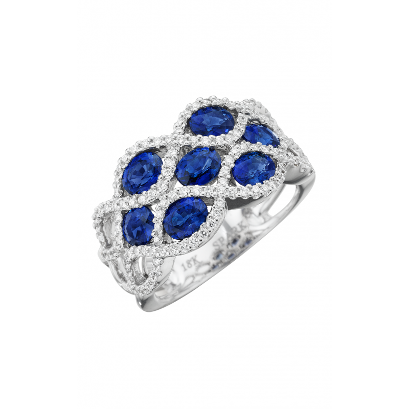 Spark Creations SAPPHIRE AND DIAMOND FASHION RING