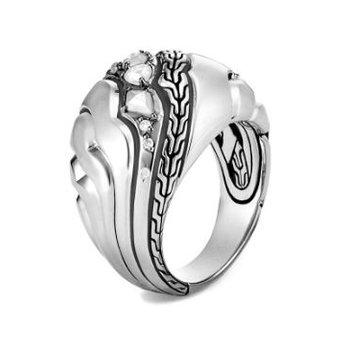 Lahar Dome Ring with Diamonds