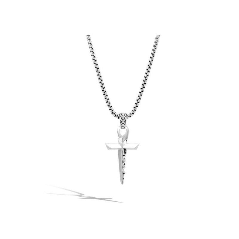 JOHN HARDY Classic Chain Men's Keris Dagger Cross Pendant Necklace