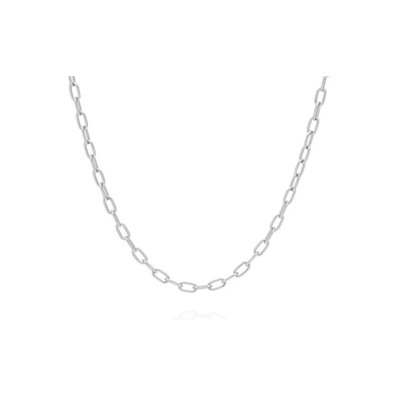 Anna Beck Elongated Oval Chain Collar Necklace - Silver