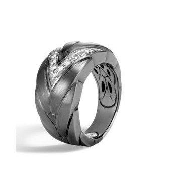Modern Chain Slim Blackened Brushed Silver & Diamond Ring