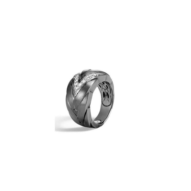 JOHN HARDY Modern Chain Slim Blackened Brushed Silver & Diamond Ring
