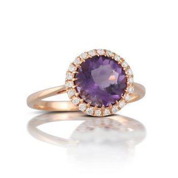 ROSE GOLD AMETHYST AND DIAMOND HALO RING