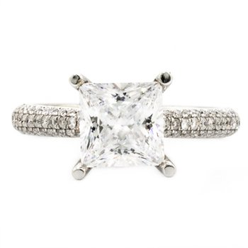 WHITE GOLD PAVE SOLITAIRE ENGAGEMENT RING