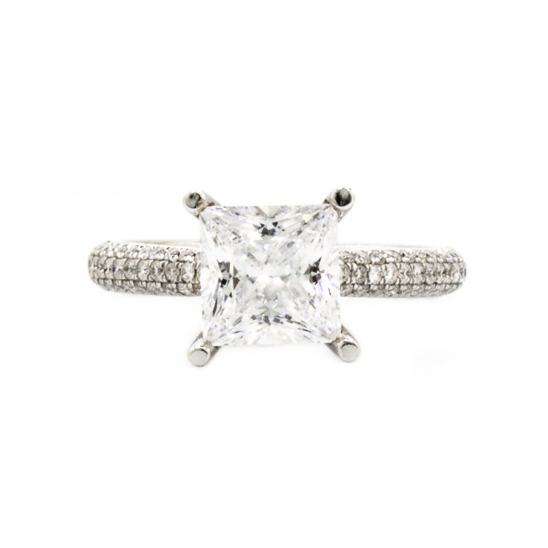 Mazzarese Couture WHITE GOLD PAVE SOLITAIRE ENGAGEMENT RING