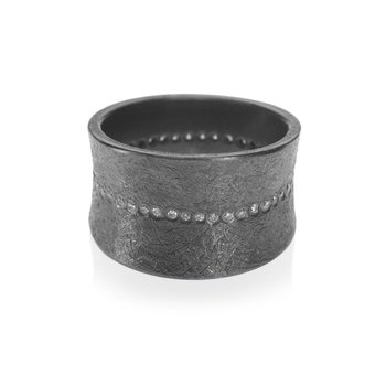 TODD REED BLACKEND SILVER DIAMOND RING