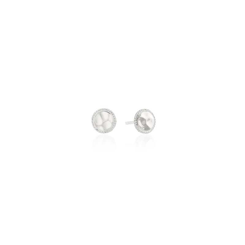 Anna Beck Hammered Disc Stud in Sterling Silver