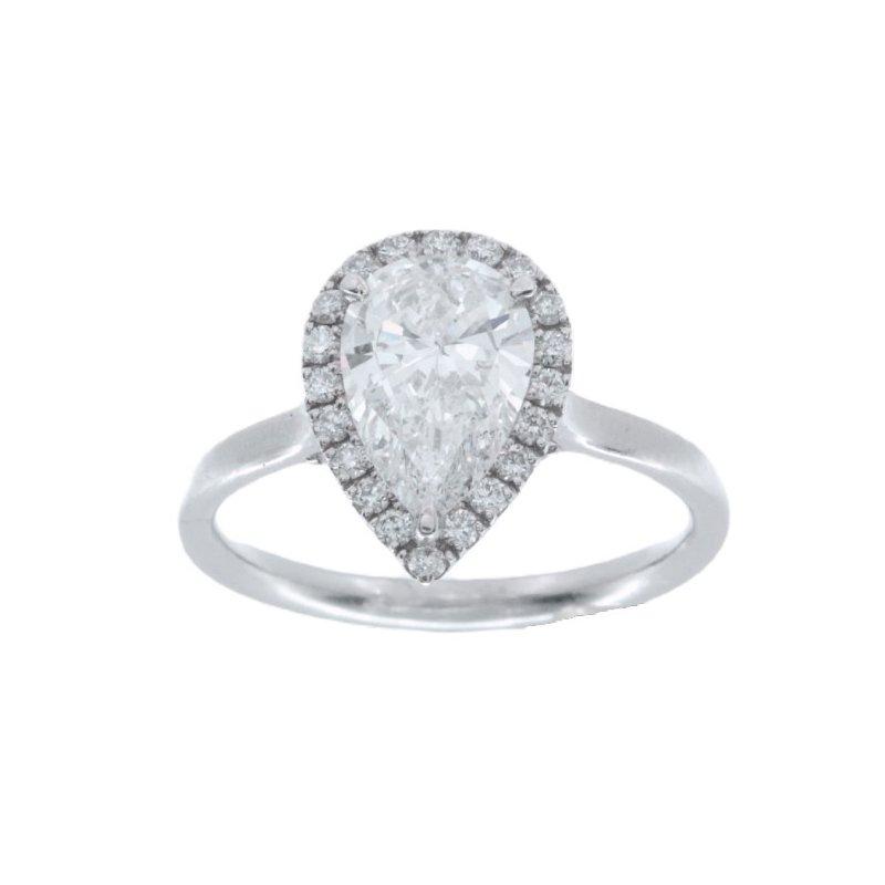 MAZZARESE Bridal PLATINUM PEAR HALO ENGAGEMENT RING
