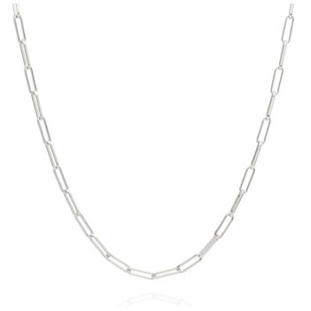 Elongated Box Chain Necklace, Silver