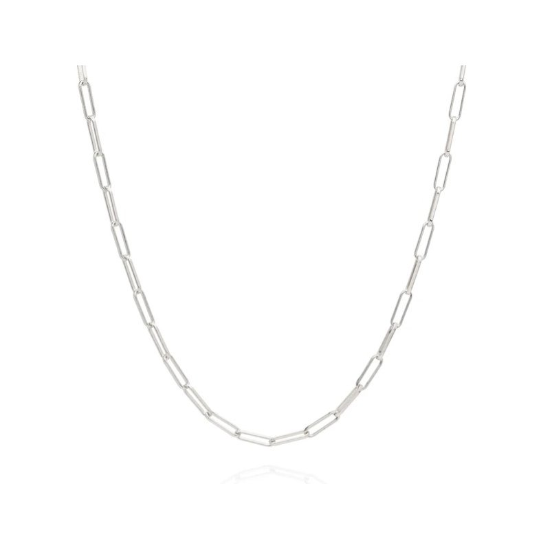 Anna Beck Elongated Box Chain Necklace, Silver