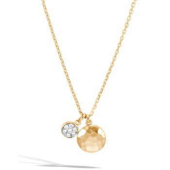 Hammered Pendant Necklace with Diamonds