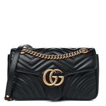 GUCCI Calfskin Matelasse Small GG Marmont Shoulder Bag Black