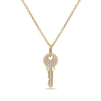Yellow Gold Pave Key Necklace