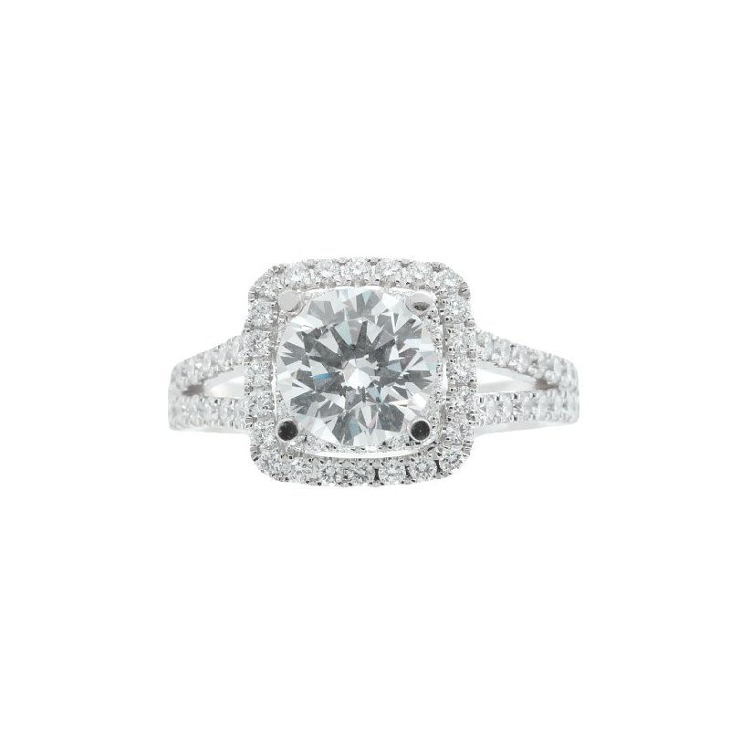 MAZZARESE Couture WHITE GOLD HALO DIAMOND ENGAGEMENT RING