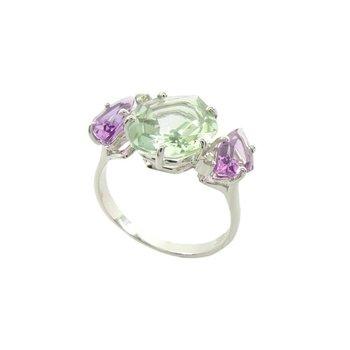 Vianna B.R.A.S.I.L. Prasiolite, Pink Amethyst, Diamond Ring