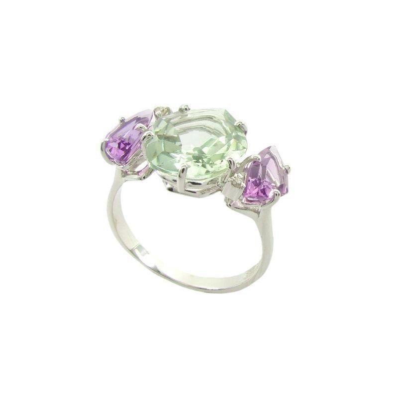 Vianna Vianna B.R.A.S.I.L. Prasiolite, Pink Amethyst, Diamond Ring