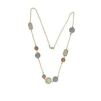 Bezel Set Colored Stone Necklace
