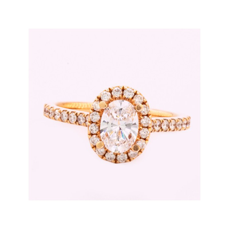 MAZZARESE Couture ROSE GOLD DIAMOND HALO ENGAGEMENT RING