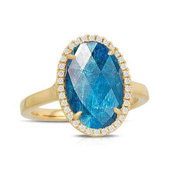 APATITE AND DIAMOND FASHION RING