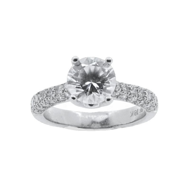 MAZZARESE Bridal PAVE DIAMOND SOLITAIRE ENGAGEMENT RING