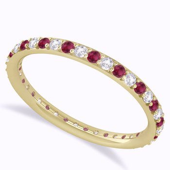 YELLOW GOLD RUBY AND DIAMOND ETERNITY BAND