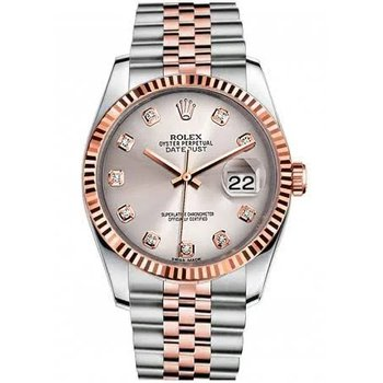 PRE-OWNED ROLEX DATEJUST  WATCH Rose Gold with Diamonds