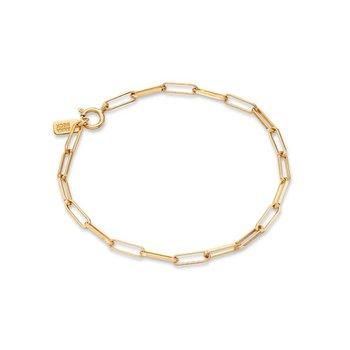 Elongated Box Chain Bracelet, Gold