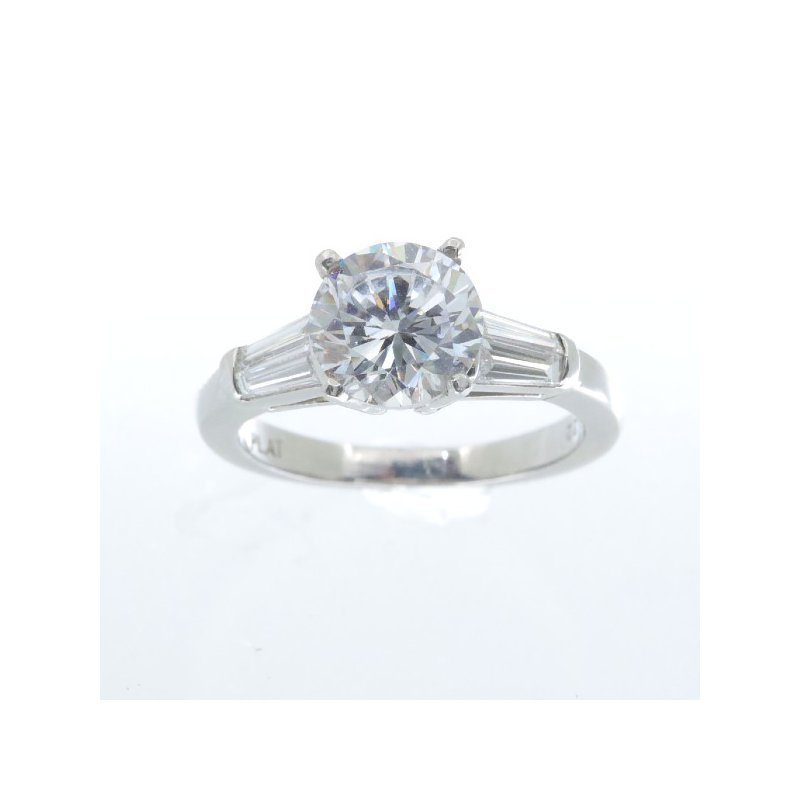 MAZZARESE Bridal PLATINUM SOLITAIRE RING WITH BAGUETTES