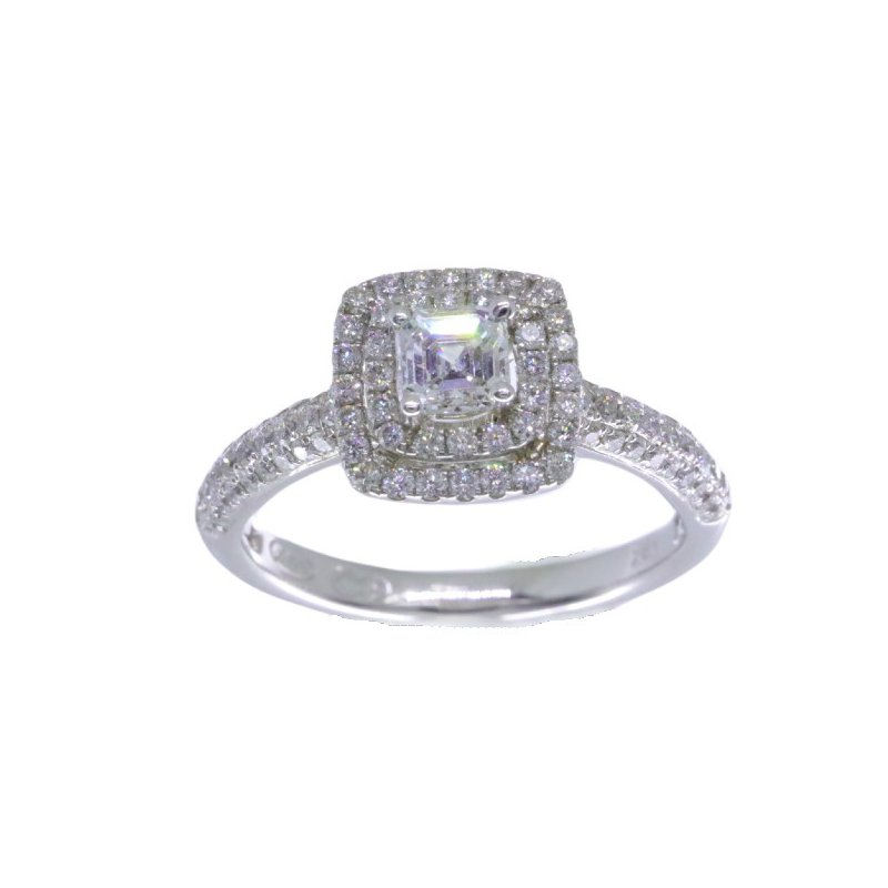 MAZZARESE Bridal DOUBLE HALO ASSCHER ENGAGEMENT RING